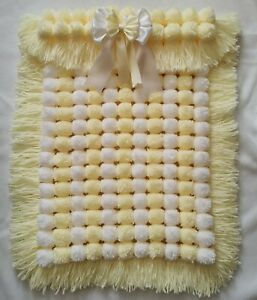 Lemon And White Stripe Pompom Baby Girl Boy Blanket With Removable Bow