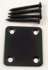 *BLACK*  50mm x 47mm ELECTRIC GUITAR NECK JOINT PLATE & SCREWS