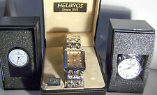 MEN'S THREE PIECE GIFT SET WITH TWO-TONE HELBROS WATCH WITH ONE 1 mm DIAMOND