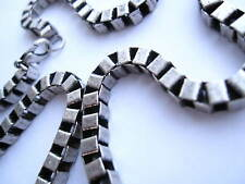 """Cube silver link 18"""" necklace - square linked choker chain"""