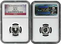 2011 Australia 1/10 Silver Koala NGC MS70 Flag Label