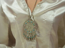 XXX Showy Vintage 1970s Ornate Fish Dangle Runway Necklace  414E