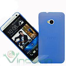 Custodia ultra sottile 0,3mm azzurro TRASPARENTE pr HTC One M7 cover semi rigida