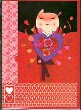 Carte de voeux couple amour fille kokeshi amoureuse avec coeurs 12 cm x 17 cm