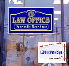 "LED Sign LAW OFFICE with name and/or Phone Number 48""x24"" neon banner alternativ"