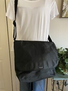 Kate Spade New York Extra Large Black Nylon Messenger Crossbody Flap Bag Purse