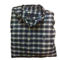 Ralph Lauren Mens XL Custom Fit 100% Cotton Plaid Green Blue Button Down Shirt