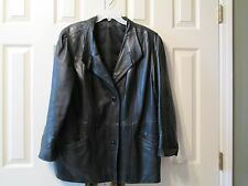 Vintage Women's Black Real Leather Jacket  Sz XL Made In Mongolia SOFT!