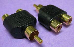 Single RCA Phono Plug to Two Phono Sockets Adaptor pack of 2