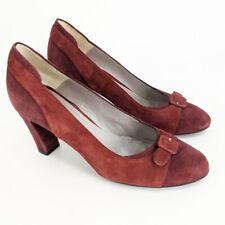 Aquatalia Maroon Suede Colorblock Heels Size 10 Buckle Toe Pumps Non-Slip
