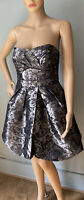 Red Herring Womens Strapless Dress Silver Grey Floral Puff Hem U.K. Size 10 Exc