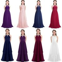 Flower Girls Princess Long Dress Party Wedding Bridesmaid Kids Maxi Formal Gown