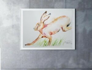 New large Elle Smith original signed watercolour art painting of a Running Hare