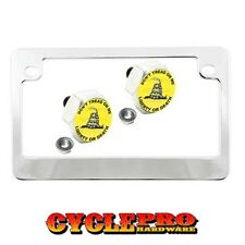 Chrome Metal Motorcycle License Plate Frame Hex Tag Bolt Kit - DONT TREAD ON ME