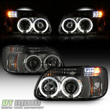 Smoked 1995-2001 Ford Explorer LED Halo Projector Headlights w/Built In Bumepr