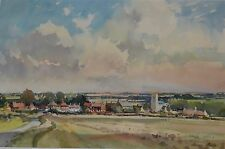 Superb Large Clouds Shadows at Wighton Norfolk Watercolour by David Green Artist