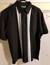 Cubavera Sz M Guayabera Bowling Camp Shirt Embroidered Black White Cuban Style