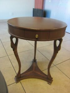 Adorable Antique Empire Round Swan Leg End or Lamp Table One Drawer