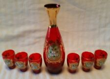Bohemian Glass Cordial Set 6 Glasses Red Applied Flowers Gilt