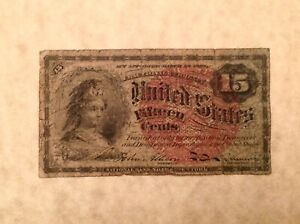~ FR 1271 4th Issue 15 Cents Bust of Columbia US Fractional Currency Note