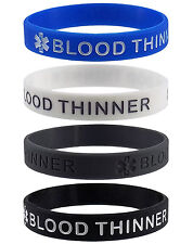 BLOOD THINNER Medical Alert ID Silicone Bracelets Adult Size (4 Pack)