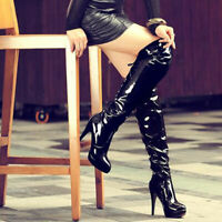 SEXY LADIES WOMENS OVER KNEE THIGH HIGH HEEL STRETCH SUEDE LEATHER BOOTS SHOES