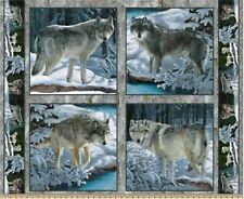 4 Silver Wolf Pillow Panels Fabric 100% Cotton Wildlife Winter wolves