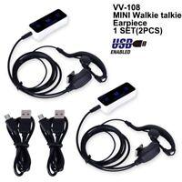 2x LEIXEN VV-108 Super MINI Walkie Talkie UHF 400-480Mhz USB Supply White