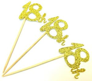 12 x Gold Happy 18th Birthday cup cake topper, cupcake picks