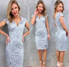 Size 18 Lace Wedding Mother Bride Dress In Grey