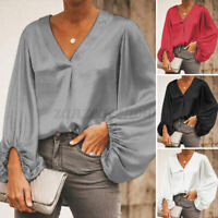 US Women V Neck Tunic Tops Long Sleeve Solid Pullover Oversized Tee Baggy Blouse