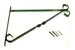 "BRACKETS FOR 12"" HANGING BASKET GREEN PLASTIC COATED STEEL + FIXINGS - 12 IN PK"