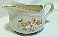 Vintage Gordella Burnet Creamer/Gravy/Sauce Boat Yellow Peach Flowers/Brown Leaf