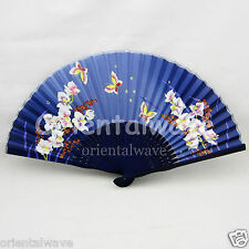 Navy Blue Chinese Summer Silk Orchid Hand Fan For Wedding Party Gift F on Sale