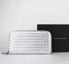 $760 Bottega Veneta Silver Metallic Woven Leather Zip Around Wallet 114076 1420