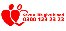 Give Blood Sticker NHS Bikers Runners Transplant Donation Donate Serv 140mm x 2