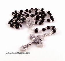 Miraculous Medal Unbreakable Rosary Beads Black Onyx w Pardon Crucifix