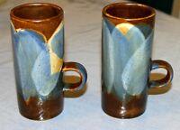 Pair of Caffe D'Vita Coffee Glazed Stoneware Mugs for Expresso/Cappuccino  6 Oz.