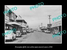 OLD LARGE HISTORIC PHOTO OF PROSERPINE QUEENSLAND, THE MAIN ST & STORES c1958