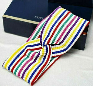 LYCRA STRIPED HEADBAND, STRETCHY, COMFORTABLE, BRIGHT COLORS, 3 1/4 WIDE