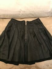 ALL SAINTS (Brand New) Black Leather Skater Skirt (UK 10)