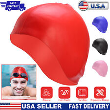 Silicone Swimming Cap Cover Ears Long Hair Clean Swim Pool For Adult Men Women
