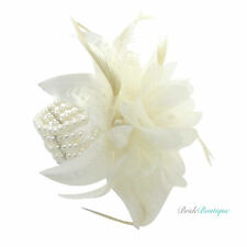Bridal Wedding Ivory Pearl Bead Feather Flower Wrist Corsage Cuff Bracelet BA01
