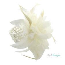 Bridal Wedding Ivory Pearl Bead Feather Flower Wrist Corsage Cuff Bracelet BA01