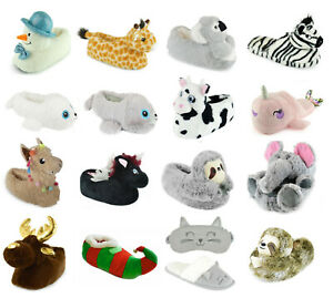 Womens Ladies Soft Comfy Novelty 3D Slippers ~ Animal Character House Slipper