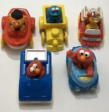 Sesame Street Lot Of 5 Cars Train Fire Truck Toys