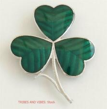 Irish Shamrock Brooch Celtic Sea Gems Jewellery silver plate St Patricks Day