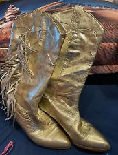 GORGEOUS Vintage LENNI GOLD Fringe Low-Heel Western Boots 7B