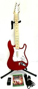 Xbox One Rock Band 4 *RED*Fender Stratocaster Wireless Guitar*Mic*Strap*RB4 Game