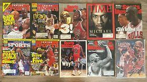 Lot of (9 Michael Jordan sports illustrated magazines and 1 Michael Jordan legen